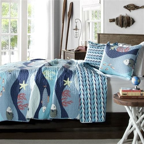 Full / Queen Blue Serenity Sea Fish Coral Coverlet Quilt Bedspread Set