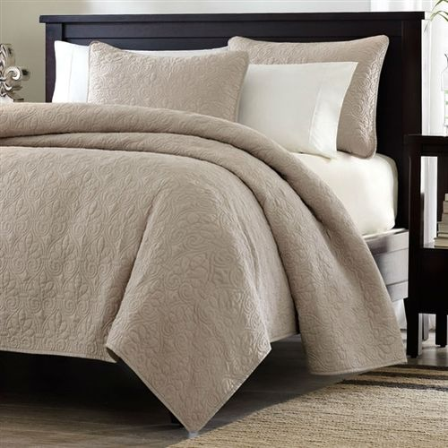 Full / Queen size Khaki Light Brown Tan Coverlet Quilt Set with 2 Shams