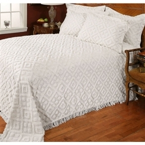 Full size Beige Chenille Cotton Bedspread with Fringe Edges