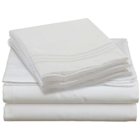 Queen size 4 Piece Sheet Set in White Microfiber