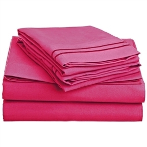Queen size 4-Piece Sheet Set in Pink Polyester Microfiber
