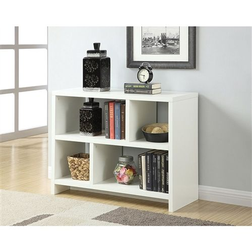 White 2-Shelf Modern Bookcase Console Table