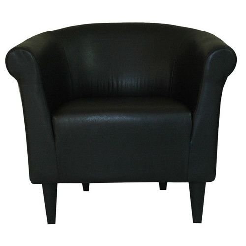 Contemporary Classic Black Faux Leather Upholstered Club Chair