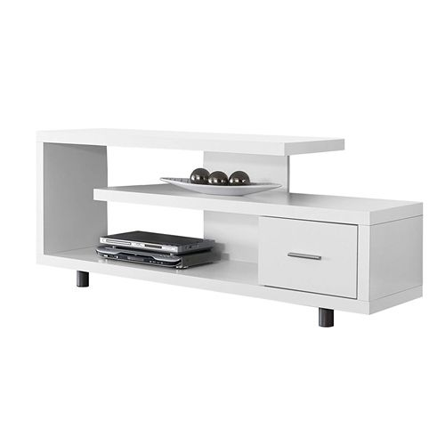 White Modern TV Stand - Fits up to 60-inch Flat Screen TV