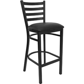 Black Metal Ladder-Back Restaurant Style Bar Stool