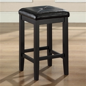 Set of 2 - Black 24-inch Backless Barstools with Faux Leather Seat