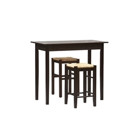 3 Piece Espresso Dining Set with Table and 2 Backless Stools