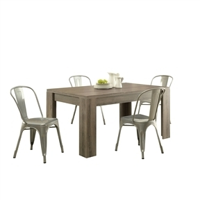 Modern Block Leg Rectangular Dining Table in Dark Taupe Wood Finish