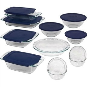 19-Piece Glass Cookware Bakeware Set with Blue Lids