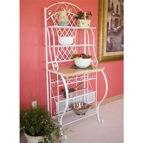 White Metal Bakers Rack with 5-Bottle Wine Rack and Wooden Work Shelf