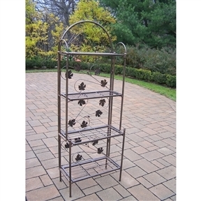 Cast Iron Bakers Rack with Grape Vine Design in Antique Bronze