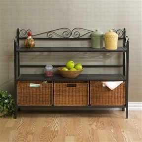 Metal Kitchen Baker's Rack with Three Rattan Drawers
