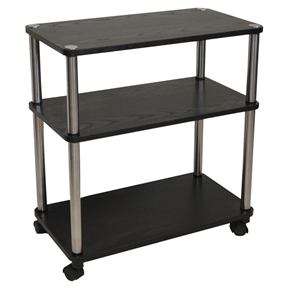 3-Shelf Mobile Home Office Caddy Printer Stand Cart in Black