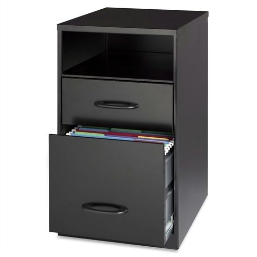 Black Metal 2-Drawer Filing Cabinet with Office Storage Shelf