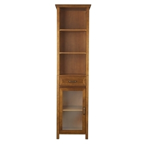 Oak Finish Bathroom Linen Tower Storage Cabinet with Shelves