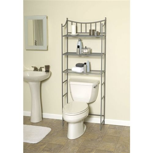 Bathroom Space Saving Over the Toilet Linen Tower Shelving Unit in Nickel Finish