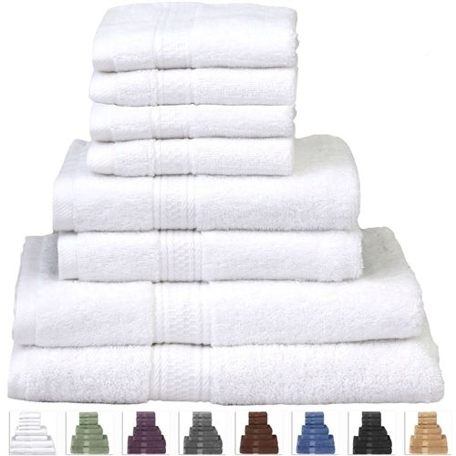 8-Piece Cotton Bath Towel Set in White with 2 Hand Towel and 4 Washcloths