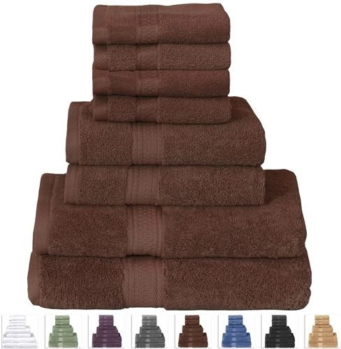 Dark Brown Cotton 8-Piece Bath Towel Set with 2 Hand Towels and 4 Washcloths
