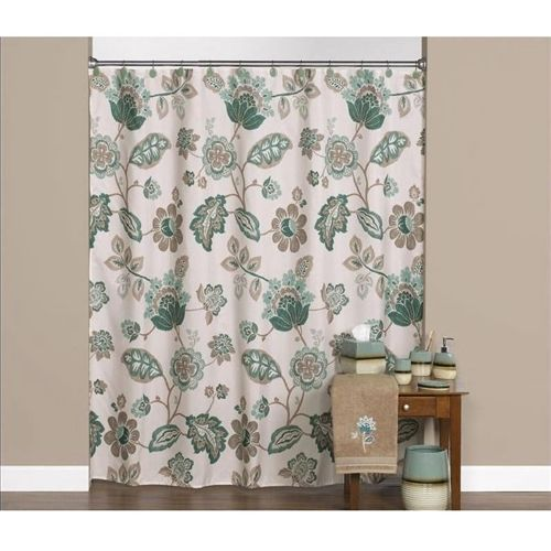 Floral Pasiley Leaf Polyester Fabric Shower Curtain in Beige Green