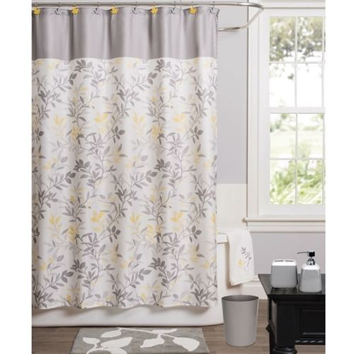 Modern Trellis Leaf Yellow Grey Beige Polyester Fabric Shower Curtain