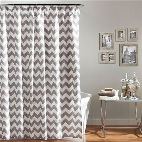 Grey and White Chevron Polyester Fabric Shower Curtain 72 x 72 inch