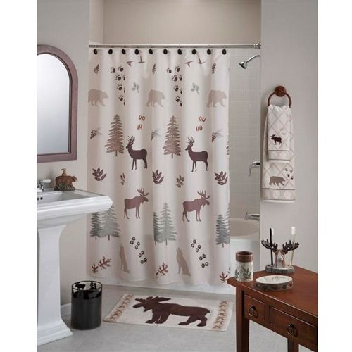 Deer Bear Trees Rustic Lodge Cabin Style Shower Curtain in Polyester Fabirc