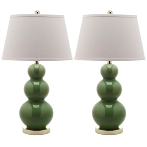 Set of 2 - Fern Green Ceramic Table Lamp with White Cotton Shade