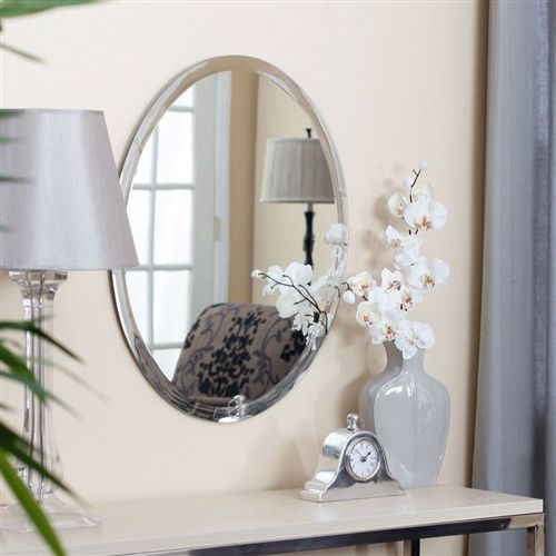 Oval 36-inch Frameless Beveled Vanity Wall Mirror