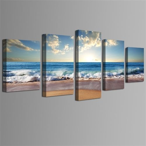 Beach Ocean Seascape 5-Panel Framed Canvas Print Wall Art