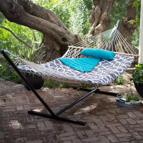 Cotton Rope 11-Ft Hammock with Metal Stand and Aqua Lattice Pillow Pad Set