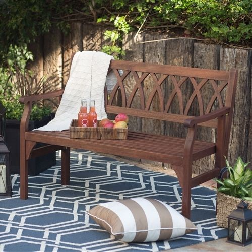 4-Ft Outdoor Garden Bench in Dark Brown Weather Resistant Wood Finish