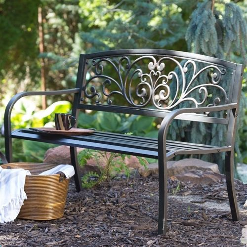 Curved Metal Garden Bench with Heart Pattern in Black Antique Bronze Finish