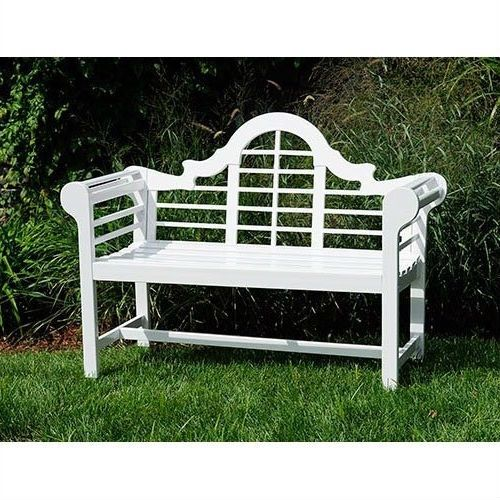 Outdoor Lattice Back Garden Bench in White Wood Finish