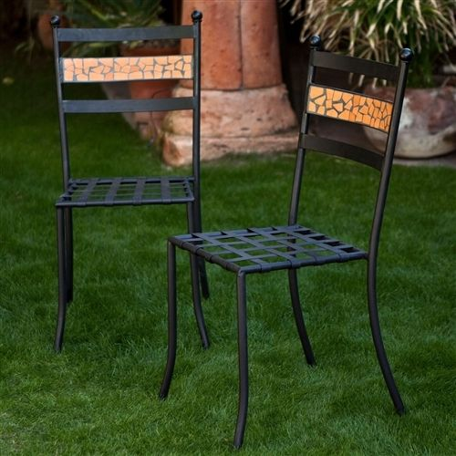 Set of 2 - Outdoor Patio Metal Bistro Dining Chairs in Black Iron with Terracotta Backrest