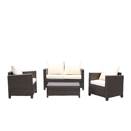 Modern 4-Piece Outdoor Resin Wicker Patio Furniture Set with Beige Cushions
