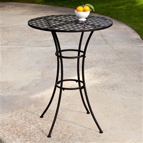 Black Wrought Iron Outdoor Bistro Patio Table with Timeless Round Tabletop