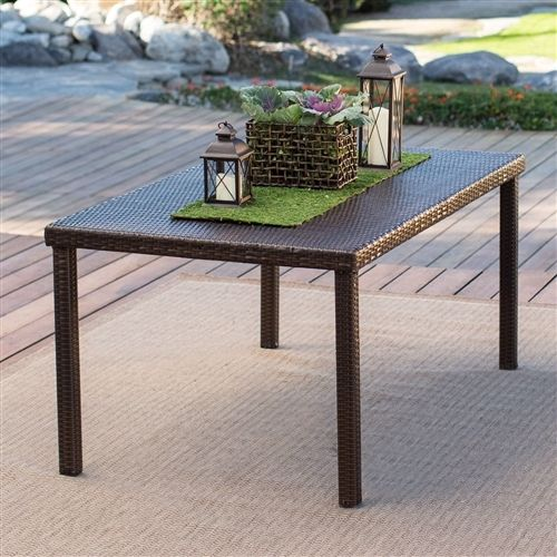 Dark Brown 63-inch Outdoor Resin Wicker Rectangular Patio Dining Table - Seats 6