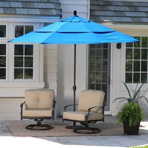 11-Ft Tilting Patio Umbrella with Pacific Blue Canopy Shade