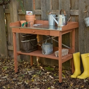 Metal Top Wood Potting Bench with Drawer & Bottom Shelf