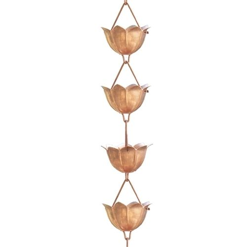 Lotus Flower 8.5-Ft Pure Copper Rain Chain for Rain Gutter / Barrel
