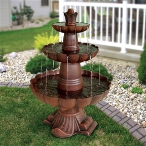 3-Tier Outdoor Garden Fountain in Durable Poly-Vinyl Composite - Bronze Color