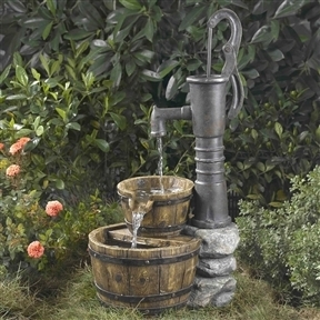 Outdoor Water Pump Half Whiskey Barrel Style Water Fountain