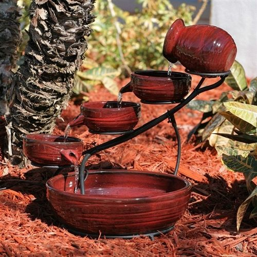 Red Ceramic 5-Tier Hand Painted Outdoor Bird Bath Fountain with Solar Pump