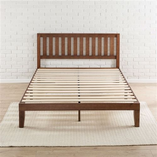 Queen size Mission Style Solid Wood Platform Bed Frame with Headboard in Espresso Finish