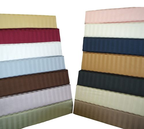 Attached Striped Waterbed Sheets 300 Thread Count 100-Percent cotton