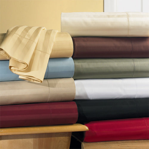 Unattached Waterbed CalKing Sheet set Sateen Stripe 600 Thread Count