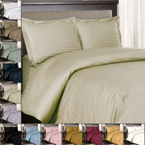 100% Combed Cotton 300 Thread Count Striped Duvet Cover Sets