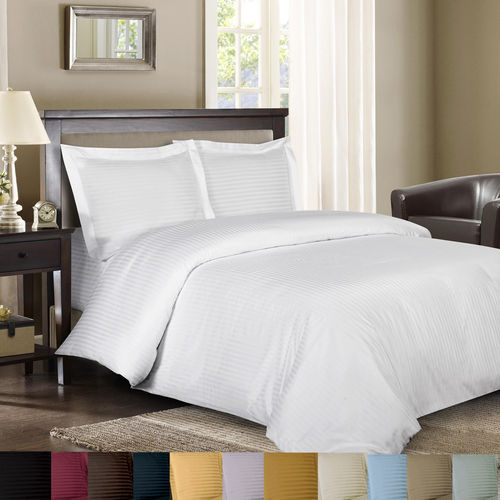 600 Thread Count Striped Down Alternative Bed in a Bag 100% Combed Cotton