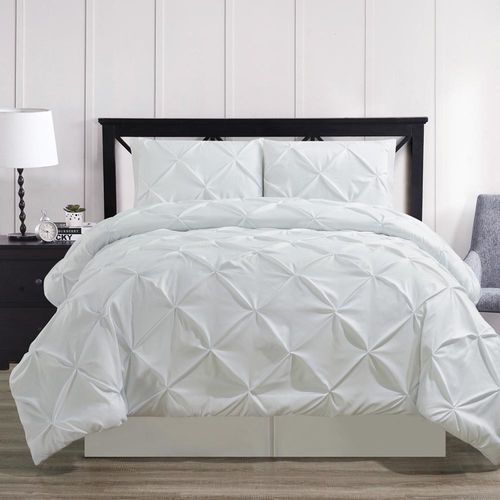 White Oxford Double Needle Luxury Soft Pinch Pleated Comforter Set