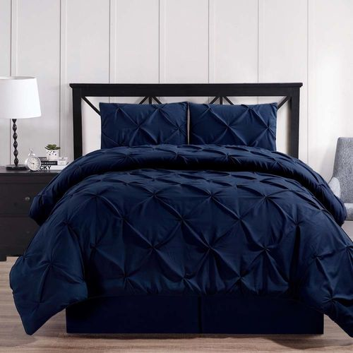 Navy Oxford Double Needle Luxury Soft Pinch Pleated Comforter Set